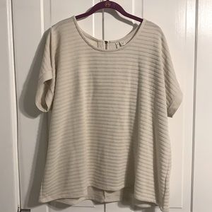 Cato Short Sleeved Striped Ivory Top 18/20W